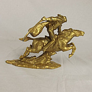 Gilt Spelter Figure Of A Dashing Cavalryman After Vasily Chapaev