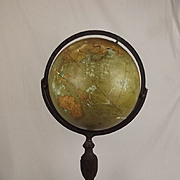 Circa 1920 16 Inch Terrestrial Floor Globe By Republic Globes Inc. Chicago