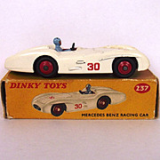 Boxed Dinky Toys 237 White Mercedes Benz Racing Car 1958-1964