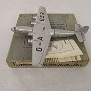 "Boxed Pre-War Dinky No. 62p Armstrong Whitworth ""Ensign"" Airliner"