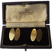 Cased 9ct Yellow Gold Cufflinks Chester 1947