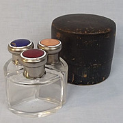 Art Deco Cased Enamel Topped Glass Scent Bottle Set