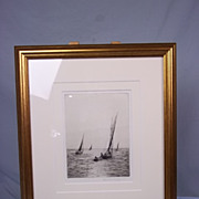 Rowland Langmaid (1897-1956) Etching of Boats At Portsmouth Harbour, Signed
