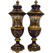 19th Century Napoleonic Gilt Mounted Sevres Style Urn Pair