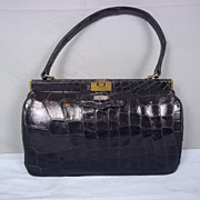 Vintage 1940's Black Crocodile Handbag by KERJ