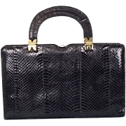 Vintage 1950's Black Leather Python Handbag by Ackery, London
