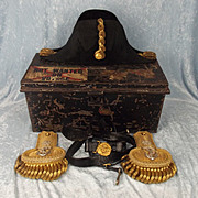 Royal Navy Officer's Navy Cased Bicorn With Epaulettes & Sword Belt