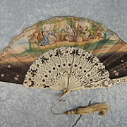 Circa1850 French Hand Painted Paper & Bone Folding Fan