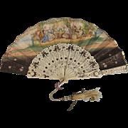Circa1850 French Hand Painted Paper & Bone Folding Fan