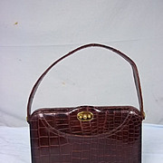Vintage 1950's Crocodile Skin Brown Ladies Handbag With Purse & Mirror
