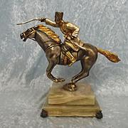 Gippe Vasari Hero Series Russian Cossack On Horseback - Silver & Gold Gilt Bronze Figurine
