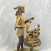 Gippe Vasari Silver & Gold Gilt Bronze Italian Statue Sculptor Figurine