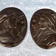 19th C. Italian Bronzed Pewter Plaques 'Dante E Beatrice' & 'Raffaello E Fornarina'