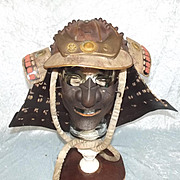 Japanese Edo Period Kabuto Samurai Helmet And Mengu (Mask)