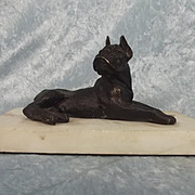 Circa 1920 Bronze Cast Bulldog Figurine