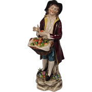 Circa 1920 Sitzendorf Porcelain Figurine Of An Apple Seller