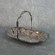 Edwardian Silver Sweetmeat Basket With Swing Handle Birmingham 1905