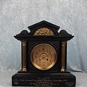 Field Marshall 1892 Presentation Black Slate Two Train Mantle Clock