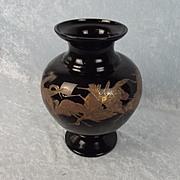 Moser Black Hyalit Glass Crane Vase Designed By Rudolf Wels Circa 1922