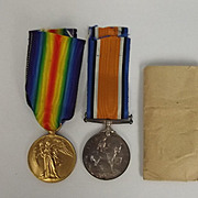 WW1 Medal Pair - PTE. W. Richardson. Lancashire Fusiliers Regiment