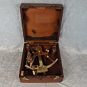 Royal Navy Cased Polished Bronze Naval Sextant