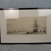 William L. Wyllie Signed Etching Of HMS Victory In Portsmouth Harbour