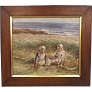 Circa 1890 Oil British Painting Of A Scottish Coastal Scene