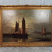 Charles Wyllie – Sun Setting Over Dover Harbour – Oil on Canvas