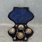 Cased Set Of Four Victorian Silver Shell Salts By Hilliard & Thomason 1877
