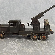 Circa WW2 Tippco Anti Aircraft Gun Lorry Clockwork Tin Plate Toy