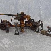 Circa 1938/9 Lineol Model No. 1230 Flak 36 88mm Anti Aircraft Gun Tin Plate Model
