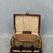 1927 Gentlemans Cased 9ct Gold Brush & Comb Set