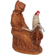 Black Forest Carved Figure Of A Woman Spinning Wool