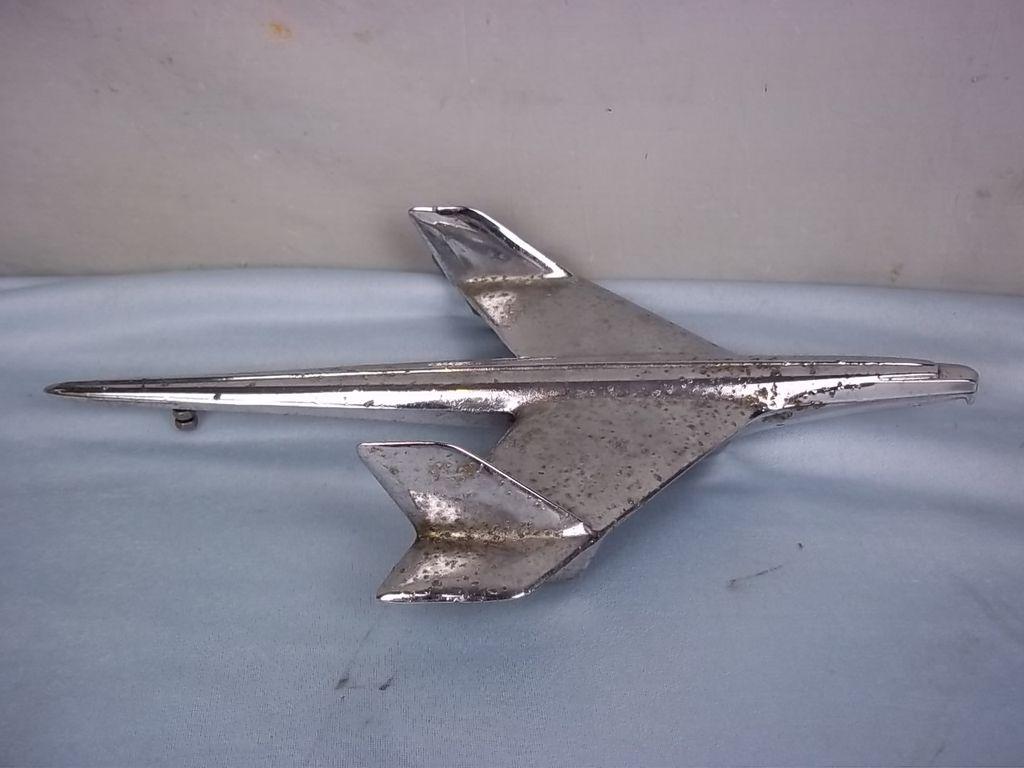 Large c1950 American Chrome Jet Plane Car Mascot