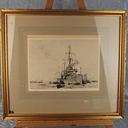William L. Wyllie 1851-1931 Signed Monochrome Etching Of HMS Dreadnought