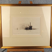 Harold Wyllie Signed Monochrome Etching Of Two Anchored Hulk Ships In Portsmouth