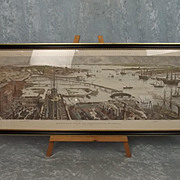 Framed Print of a Bird's-Eye View of Portsmouth Harbour After H. W. Brewer