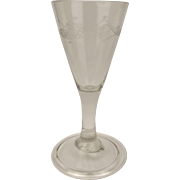 Georgian Etched Trumpet Bowl Gin Glass