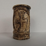 Circa 1220 French Cow Bone Quill Pot