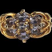 9ct Yellow Gold Amethyst & Diamond Cluster Ring UK Size J US 4 ¾
