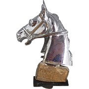 1930's Chrome On Bronze Horse Head Car Mascot