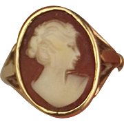 1996 9ct Yellow Gold Cameo Ring UK Size M US 6 ¼