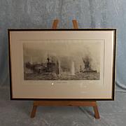 William L. Wyllie 1851-1931 Etching Of HMS Warspite & HMS Warrior At Jutland