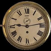 Circa 1940's Brass Ships Bulkhead 8 Day Clock