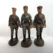 Set Of Three Circa 1930 Elastolin German Medical Soldier Figures