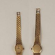 Elegant Ladies 9ct Gold Manual Wind Omega Wristwatch With 9ct Mesh Bracelet 1978