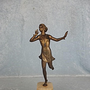 1920's Art Deco Bronzed Figure Of A Flapper Lady Dancing The Charleston
