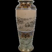 Royal Doulton Sheep Scene Stoneware Vase By Hannah Barlow