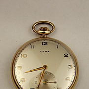Cyma Rolled Gold 15 Jewel Open Faced Top Wind Pocket Watch