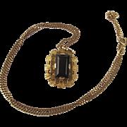 9ct Yellow Gold Smoky Quartz Pendant Necklace